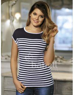 Ženska majica Julita modra-bela