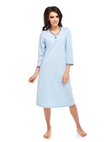 Ženska spalna srajčka Pamela 236 svetlo modra 3/4 rokavi