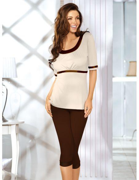 Ženska pižama Kati čokoladna-bež