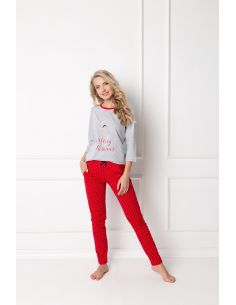 Ženska pižama Cookie Long siva-rdeča