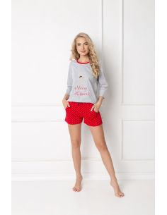 Ženska pidžama Cookie Short siva-crvena