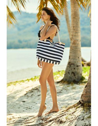 Torba za na plažo Feliss 51x33cm 38131-99X bela-črna