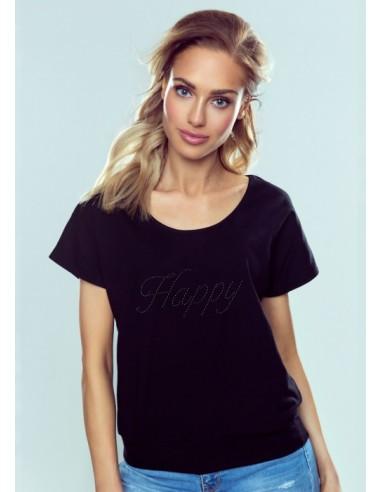 Ženska majica Happy črna