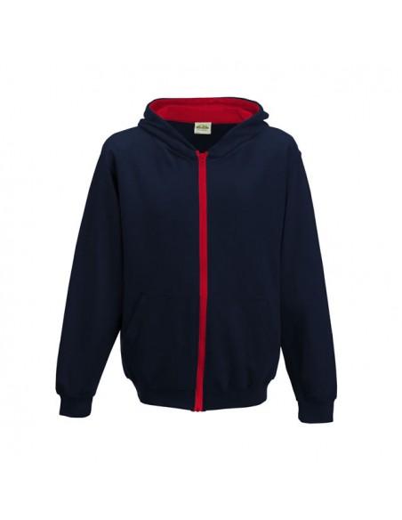 Otroški pulover z zapiranjem na zadrgo in s kapuco v kotrastni barvi JH053J